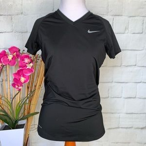 NIKE Pro Combat Fitted Black Look V-Neck T-Shirt